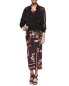 Oversized Wrap Blouse, Printed Tank Top & Long Printed Tube Skirt