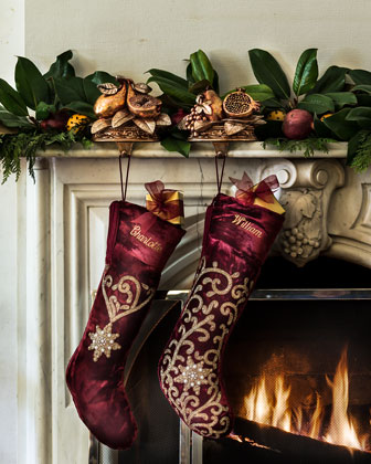 Beaded Velvet Christmas Stockings
