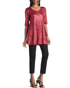 Long Sequined Tunic & Slim Ponte Pants