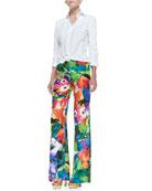 Dress-Weight Button-Down Shirt & Chaundra Wide-Leg Floral Pants