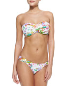 Twisted Floral-Print Bandeau Top & Swim Bottom