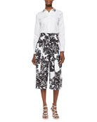 Pop Tux Shirt with Beaded Collar & Splashy Floral Culottes