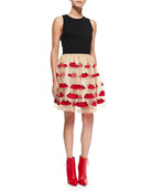 Sleeveless Pire Mesh Crop Top & Pout Pouf A-Line Skirt