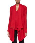 Long-Sleeve Drape-Front Cozy & Cap-Sleeve V Neck Top