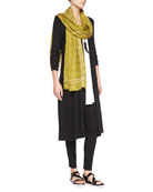 Long Shaped Jersey Cardigan, Long Jersey Tunic Airy Grid-Striped Linen/Wool Scarf & Stretch Skinny Pants with Zippers