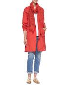 Hooded Long Anorak Jacket, Organic Cotton Slubby Tee, Stretch Boyfriend Jeans & Printed Floral Fringe-Trim Scarf
