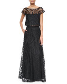 Maze-Patterned Fil Coupe Crop Top & Ball Skirt