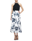 Halter Beaded-Neck Top & Floral Jacquard Pleated Midi Party Skirt