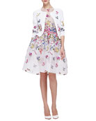 Floral Embroidered 3/4-Sleeve Cardigan & English Garden Embroidered Organza Dress