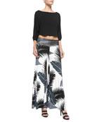 Tamika Cropped Top & Tropical-Print Wide-Leg Pants, Women's