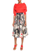 Organza Elbow-Sleeve Top, Street Art Printed Pleated Skirt & Hand-Painted Leather Belt