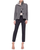 Reversible Stand-Collar Polka-Dot Jacket, Bold-Stripe Wool Sweater & Ankle Pants
