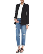 Talyia Refiner Twofer Jacket W/ Stripes, Junjeen Crewneck Prosecco Tank Top & Tatiyana Destroyed Straight-Leg Jeans