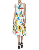 Pop Art Floral-Print Cropped Top & Midi Skirt