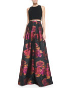 Sleeveless Crop Top & Floral-Print Ball Skirt