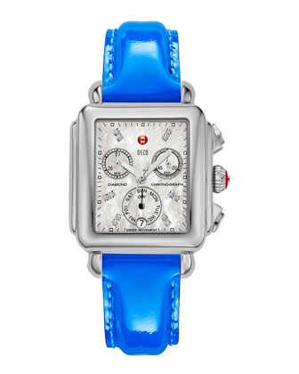 Deco Diamond Watch Head & 18mm Patent Leather Strap