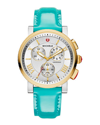 Sport Sail Two-Tone Watch Head & 20mm Patent Leather Strap