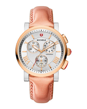 Sport Sail Rose Golden Watch Head & 20mm Saffiano Leather Strap