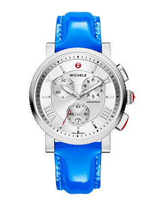Sport Sail Stainless Steel Watch Head & 20mm Patent Leather Strap