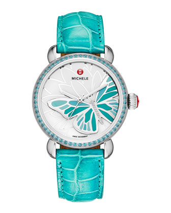 Garden Party Turquoise Topaz Watch Head & 18mm Alligator Strap