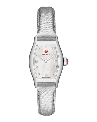 Urban Coquette Mother-of-Pearl Watch Head & 12mm Metallic Saffiano Strap