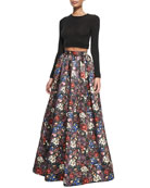 Long-Sleeve Crewneck Crop Top & Tina Floral-Print Ball Skirt