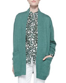 Bruna Wool Open Cardigan & Brigitte Vine-Print Blouse