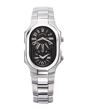 Large Signature Watch with Black Dial