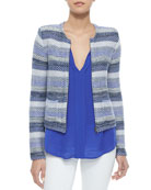 Jacolyn B Striped Jacquard Jacket & Airlan Split-Neck Silk Blouse