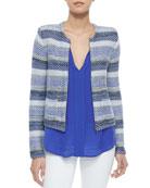 Jacolyn B Striped Jacquard Jacket & Airlan Split-Neck Silk Blouse
