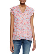 Joie Macie B Floral-Print Silk Top & Coraline Slub-Knit Camisole