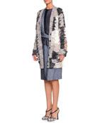 Mended Yarn Long Cardigan & Striped Pique Denim Combo Dress