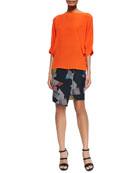 Garland Pleated-Sleeve Silk Top & Qiana Printed Grid Skirt