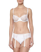 Delice Lace Demi Bra, Embroidered Garter Belt & Mesh Thong, White