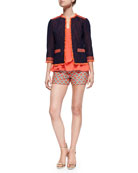 3/4-Sleeve Tweed Jacket, Sleeveless Drape-Front Top & Dot Jacquard Short Shorts