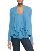 Farrell Draped-Collar Cardigan & Follia Tank W/ Layered Hem