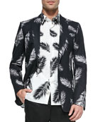 Feather-Patterned Two-Button Sport Coat, Feather-Print Short-Sleeve Shirt & Shantung Silk Men's Shorts