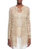 Thora Paisley Lace Short Coat & Cashmere-Silk Knit Tank
