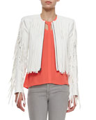 Farrell Short Jacket with Fringe & Jada Lightweight Crepe Cutout Tank