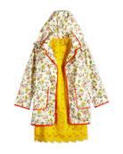 Embroidered Heart Eyelet Dress & Floral-Print Raincoat