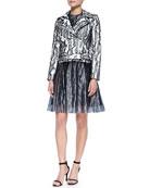 Giamaica Fringe Moto Jacket & Grace Sleeveless Plisse Dress