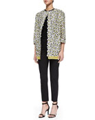 Daisy Embroidered Long Topper, Lace Stitch Knit Top & Cropped Tab-Front Slim Pants