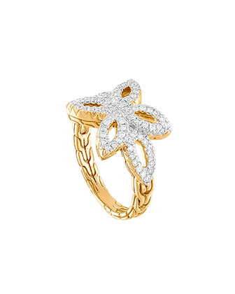 Kawung 18k Floral Diamond Ring