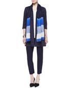 Polished Ramie Long Jacket, Long Silk Jersey Tunic, Silk Shibori Icons Scarf & Stretch-Crepe Ankle Pants