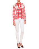 Striped Lace-Inset Cardigan, Striped Lace-Inset Top & Flat-Front Slim Pants