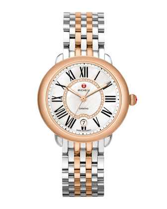 Serein 16 Two-Tone Diamond Watch Head & Serein 16 Two-Tone Bracelet Strap ...