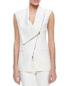 Asymmetric Draped Zip Vest & Skinny Zip-Pocket Cropped Jeans