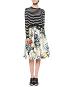 Nautical-Stripe Cropped Pullover Sweater & Gazaar Printed Pleated Satin Skirt