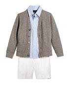 Long-Sleeve Knit Cardigan, Blake Gingham Poplin Shirt & Chevron-Knit Linen Preppy Shorts