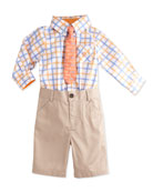 Check-Print Shirtzie Playsuit, Car-Print Satin Tie & Khaki Twill Shorts